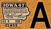 1947 Iowa REGISTRATION Sticker
