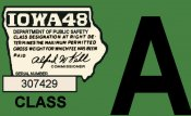 1948 Iowa Car (A) Registration Sticker