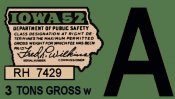 1952 Iowa REGISTRATION Sticker