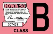1958 IA Registration sticker