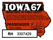 1967 Iowa Registration Sticker