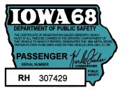 1968 Iowa Registration Sticker