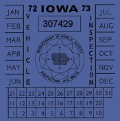1972-73 Iowa inspection sticker