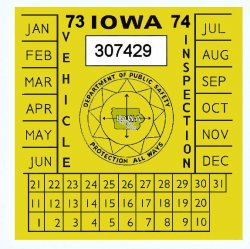 1973-74 Iowa INSPECTION Sticker