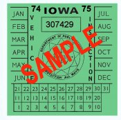 1974-75 Iowa INSPECTION Sticker
