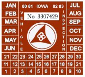 1980-83 Iowa Inspection Sticker