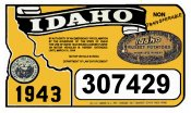 1943 Idaho Registration Sticker