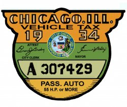 1934 Illinois tax inspection sticker CHICAGO