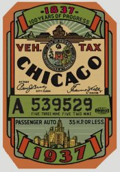 1937 Illinois Registration/inspection sticker CHICAGO