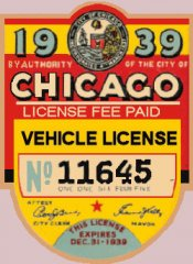1939 IL tax/inspection sticker CHICAGO