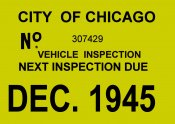 1945 Illinois inspection sticker (CHICAGO)