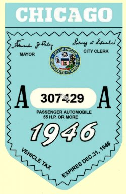 1946 IL tax reistration sticker CHICAGO
