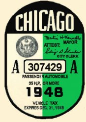 1948 Illinois Tax/Inspection sticker CHICAGO