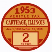 1953 Illinois Tax sticker ( Carthage) or your city