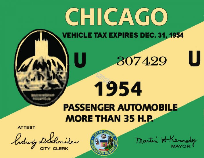 1954 Illinois Tax Inspection sticker CHICAGO - Click Image to Close