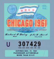 1961 Chicago Tax/Inspection Sticker