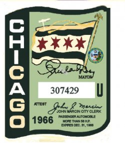 1966 IL Tax/Inspection sticker CHICAGO