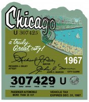 1967 Illinois Tax/Inspection sticker CHICAGO