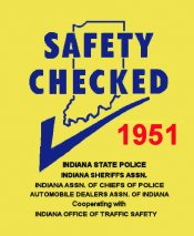 1951 Indiana Safety Check Inspection sticker