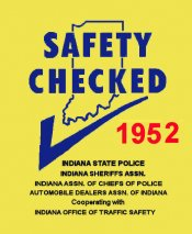 1952 Indians Safety check Inspection sticker