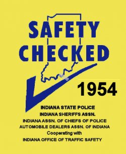 1954 Indiana Safety checkInspection sticker