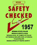 1957 Indiana Safety Check Inspection Sticker