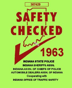 1963 Indiana Safety Check INSPECTION sticker