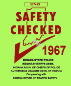 1967 Indiana Safety Check Inspection Sticker