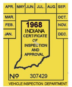 1968 Indiana INSPECTION sticker