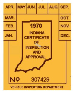 1970 Indiana INSPECTION Sticker