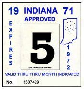 1971-72 Indiana INSPECTION Sticker BLACK