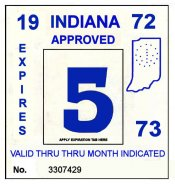 1972-73 Indiana INSPECTION Sticker BLUE