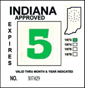 1973 Indiana INSPECTION Sticker GREEN