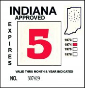 1974 Indiana Inspection sticker RED