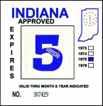 1975 Indiana Inspection Sticker BLUE
