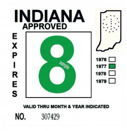 1977 Indiana Inspection Sticker GREEN