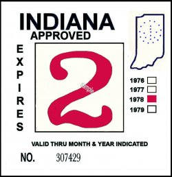 1978 Indiana Inspection Sticker RED