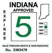 1981 Indiana Inspection Sticker GREEN