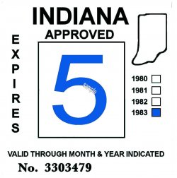 1983 Indiana Inspection Sticker BLUE