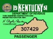 1951 Kentucky Inspection/Registration Sticker