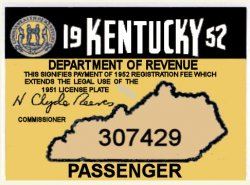 1952 Kentucky Registration sticker