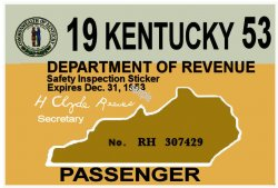 1953 Kentucky Registration sticker