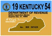 1954 Kentucky Inspection Sticker