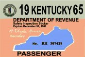 1965 Kentucky Inspection Sticker