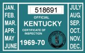 1969-70 Kentucky Inspection Sticker