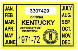 1971-72 Kentucky Inspection Sticker
