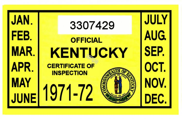 1971-72 Kentucky Inspection Sticker - Click Image to Close