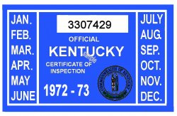 1972-73 Kentucky Inspection Sticker