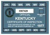 1977 Kentucky Inspection Sticker