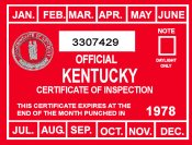 1978 Kentucky Inspection Sticker